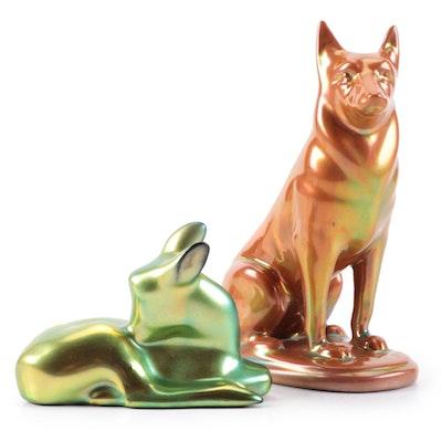 Zsolnay Eiosin Glazed German Shepherd and Fawn Porcelain Figurines