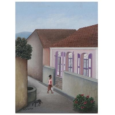 Buffon Thermidor Acrylic Painting of Haitian Street Scene