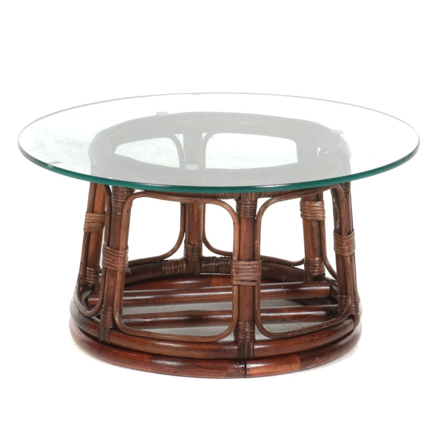 Rattan and Glass Top Coffee Table, Late 20th Century
