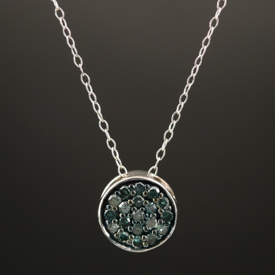Sterling Blue Diamond Pendant Necklace