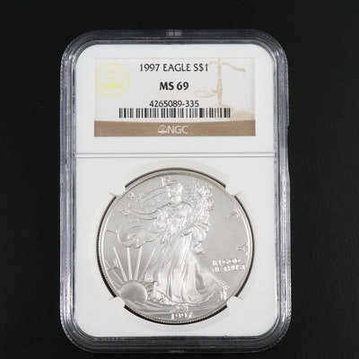NGC Graded MS69 1997 .999 Fine Proof Silver Eagle Bullion Coin