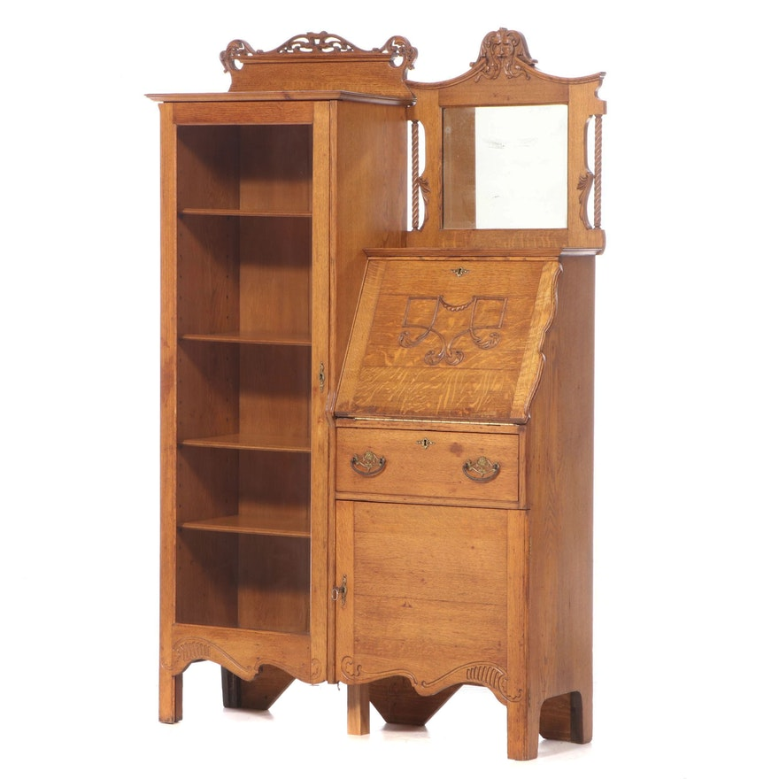 Will Dale Late Victorian Carved Oak Side by Side Secretary Bookcase, c. 1900