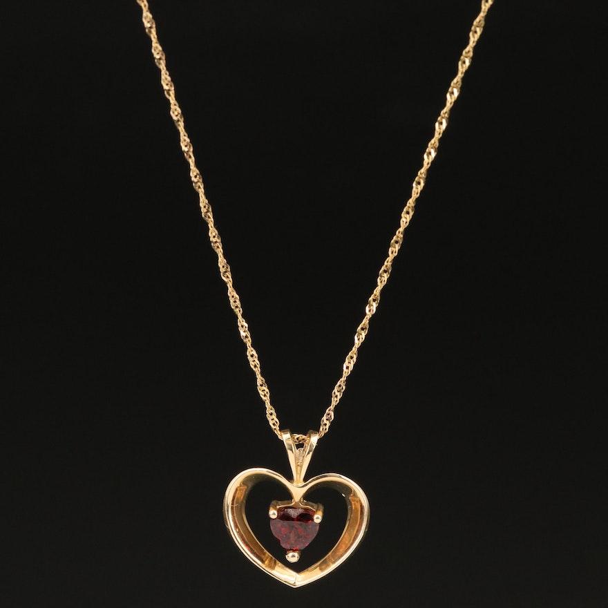 14K Garnet Heart Pendant Necklace