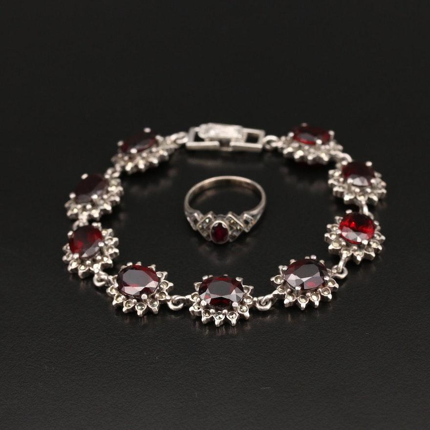 Vintage Sterling Garnet and Marcasite Link Bracelet and Ring