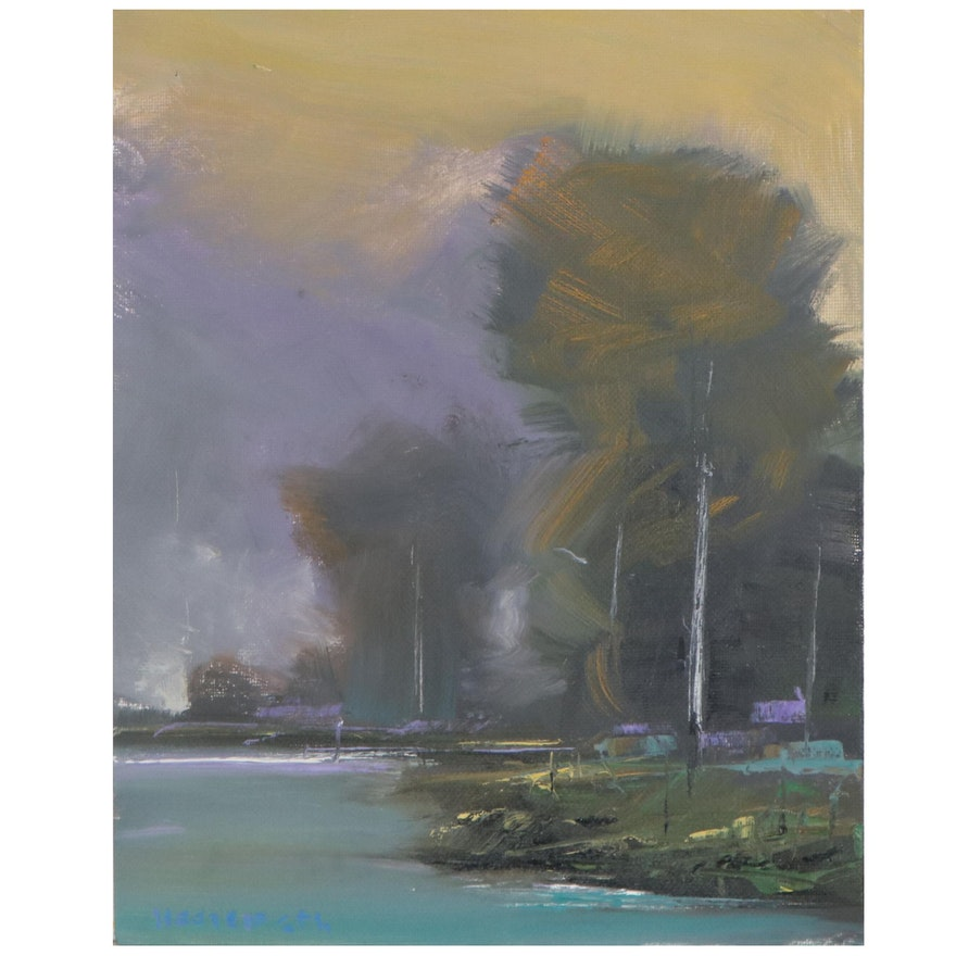 Stephen Hedgepeth Landscape Oil Painting of Lakeshore, 21st Century