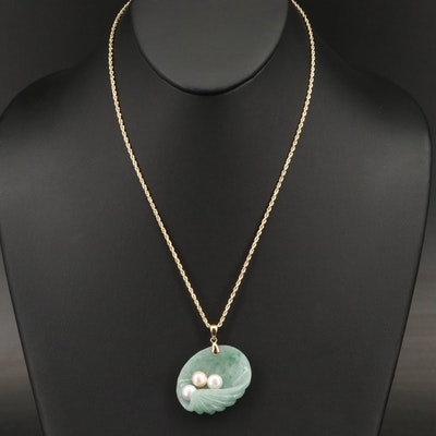 14K Jadeite and Pearl Carved Clam Shell Pendant Necklace