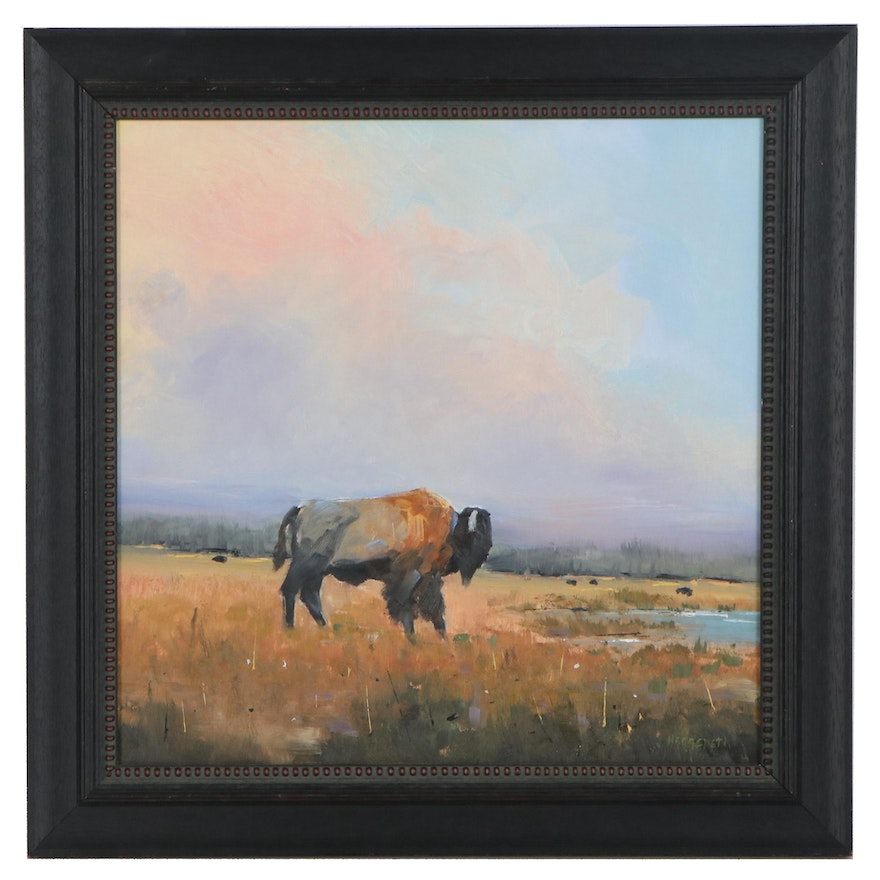 Stephen Hedgepeth Landscape Oil Painting of Bison on the Plain