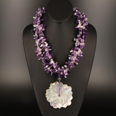 Carved Mother of Pearl Flower Pendant on Amethyst Necklace