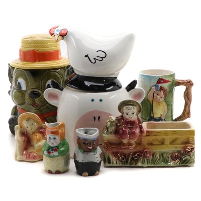 Joanne Delomba for Lotus Ceramic Cookie Jar with Other Table Accessories