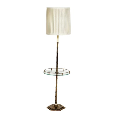 Ethan Allen Brass and Glass Tray Table Floor Lamp, Mid to Late 20th Century