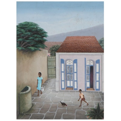Buffon Thermidor Acrylic Painting of Children in Alley With Hen