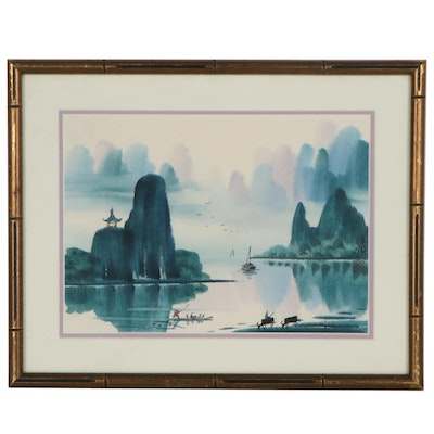 Chinese Style Landscape Watercolor Painting
