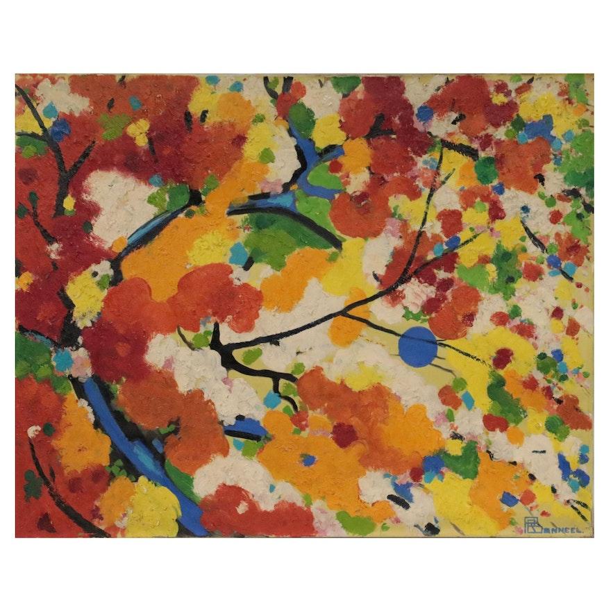 "Raymond Bonneel Oil Painting ""De Blauwe Zon,"" 1965"