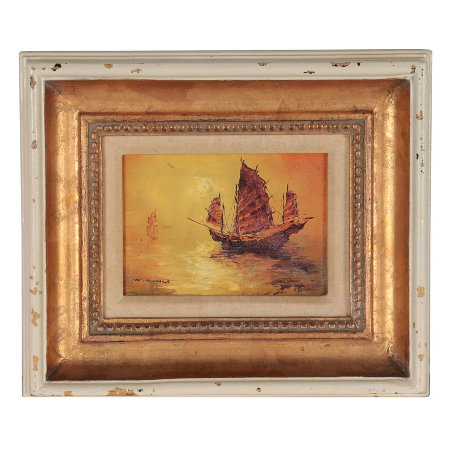 Oil Painting of Chinese Junk Ship, Late 20th Century