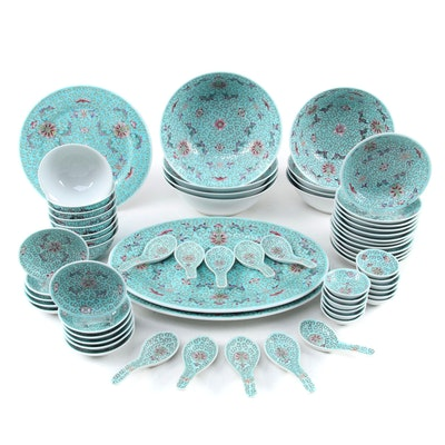 Chinese Turquoise Porcelain Dinnerware