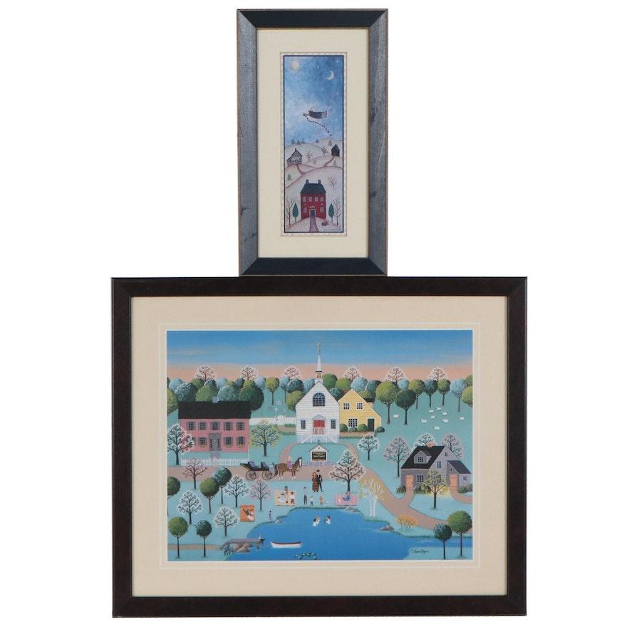 Offset Lithographs after Folk Art Village Landscapes