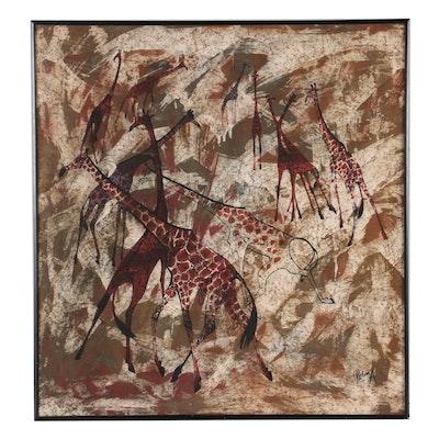 Robin Anderson Batik Dyed Silk of Giraffe Herd, Mid-Late 20th Century