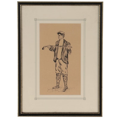 Ink Drawing of a Golfer, Mid to Late 20th Century