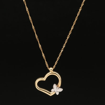 10K Heart and Butterfly Pendant Necklace