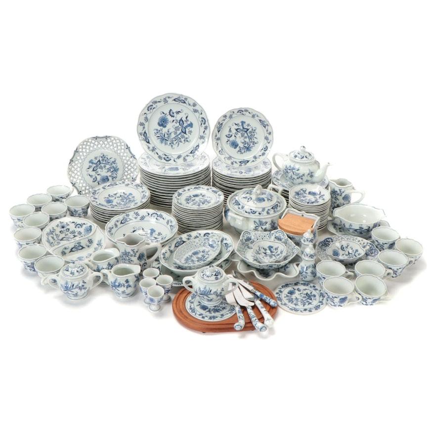 "Blue Danube ""Blue Onion"" Porcelain Dinnerware for Sixteen"