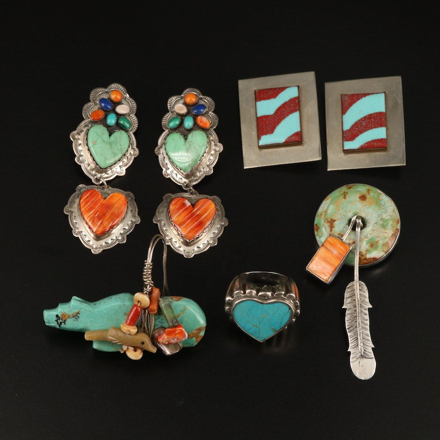Southwestern Jewelry Including Sterling, Turquoise and Lapis Lazuli