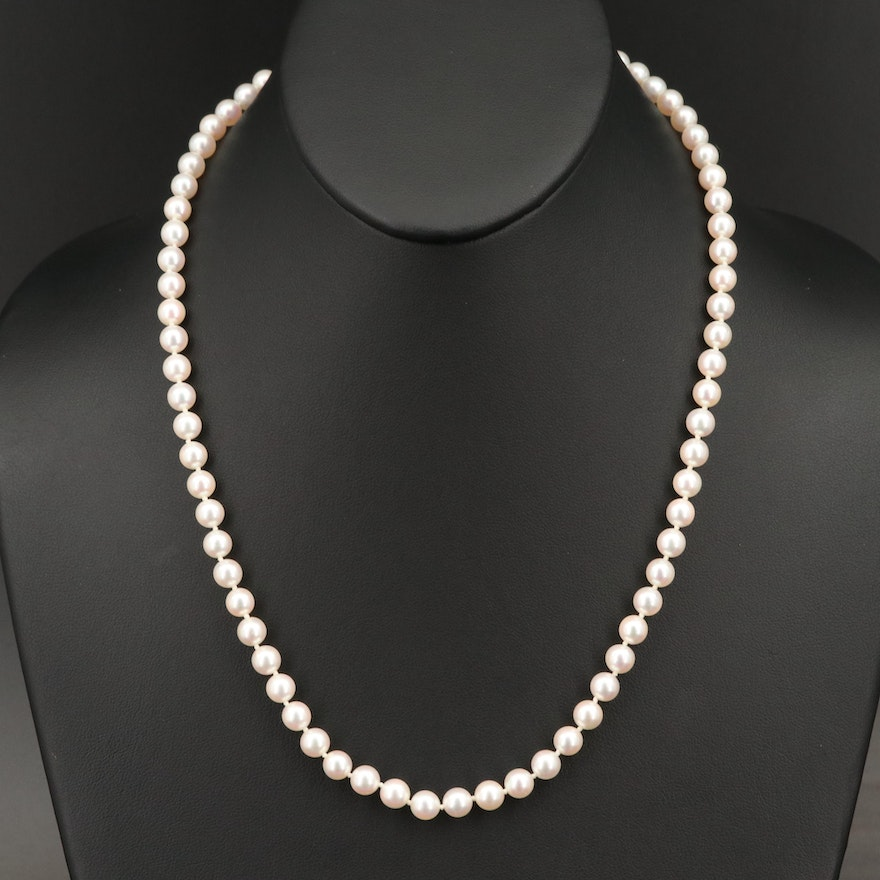 Vintage Pearl Necklace with Sterling Clasp