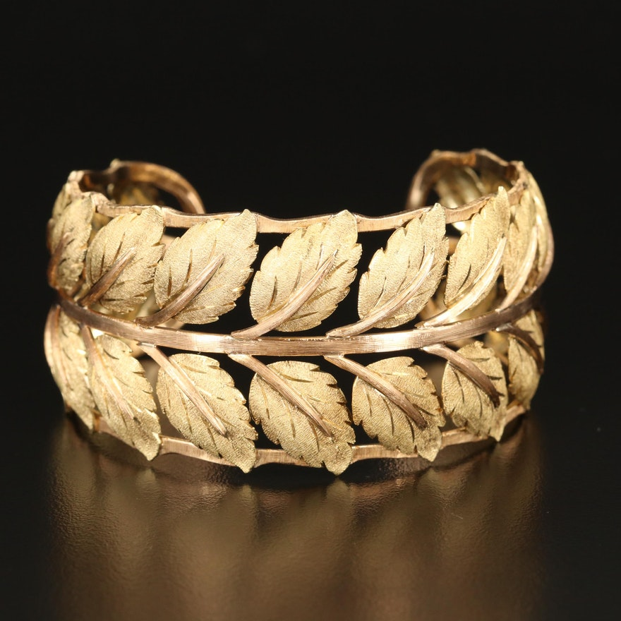 18K Vine Leaf Cuff with Scalloped Edges