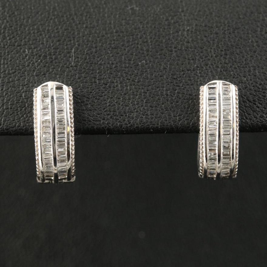 Sterling Double Channel Set Diamond Hoop Earrings