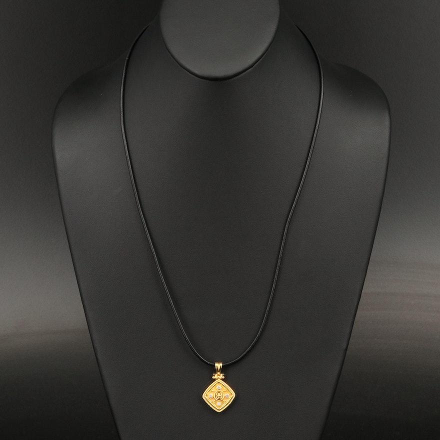 Greek 18K Diamond Pendant Necklace