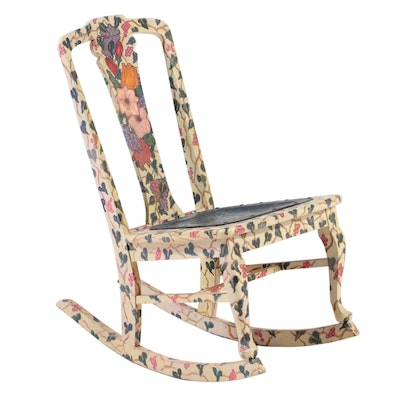 Floral-Painted Rocking Chair, 20th Century