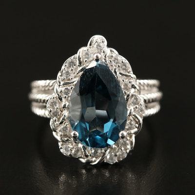 Sterling London Blue Topaz and Zircon Teardrop Ring with Rope Detail
