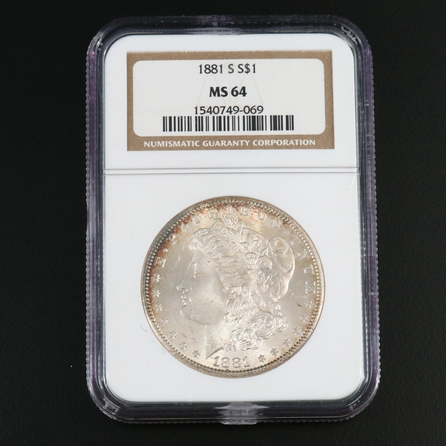 NGC Graded MS64 1881-S Morgan Silver Dollar.
