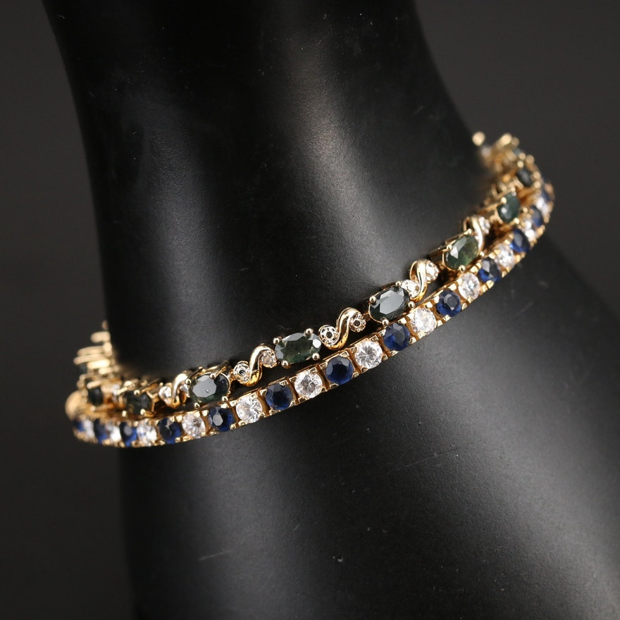 Line Bracelets Including Sterling, Sapphire and Cubic Zirconia