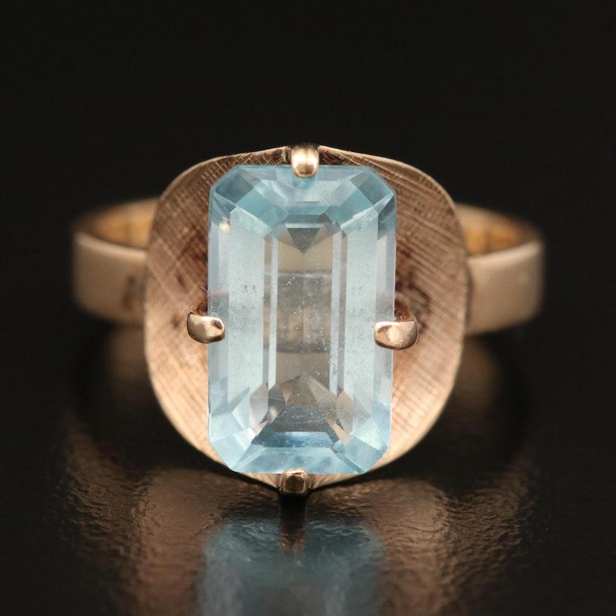 10K 3.24 CT Aquamarine Ring with Florentine Finish