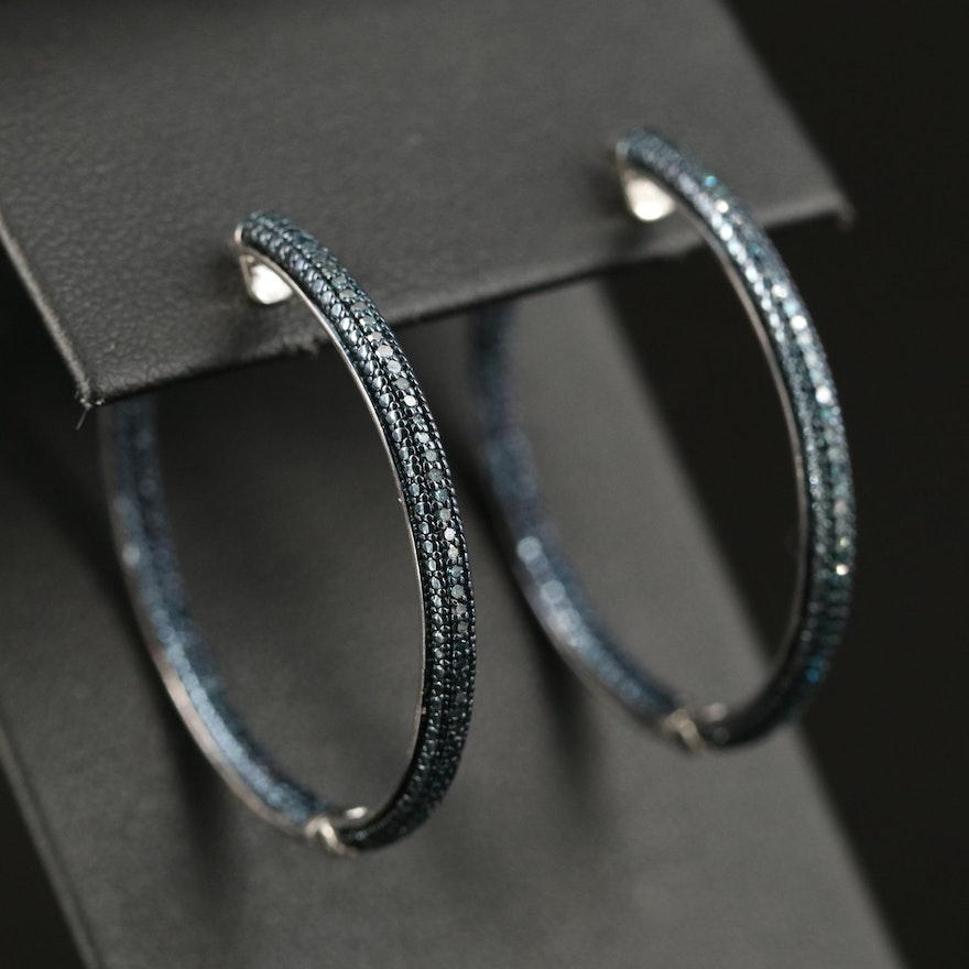 Sterling Diamond Inside-Out Hoop Earrings