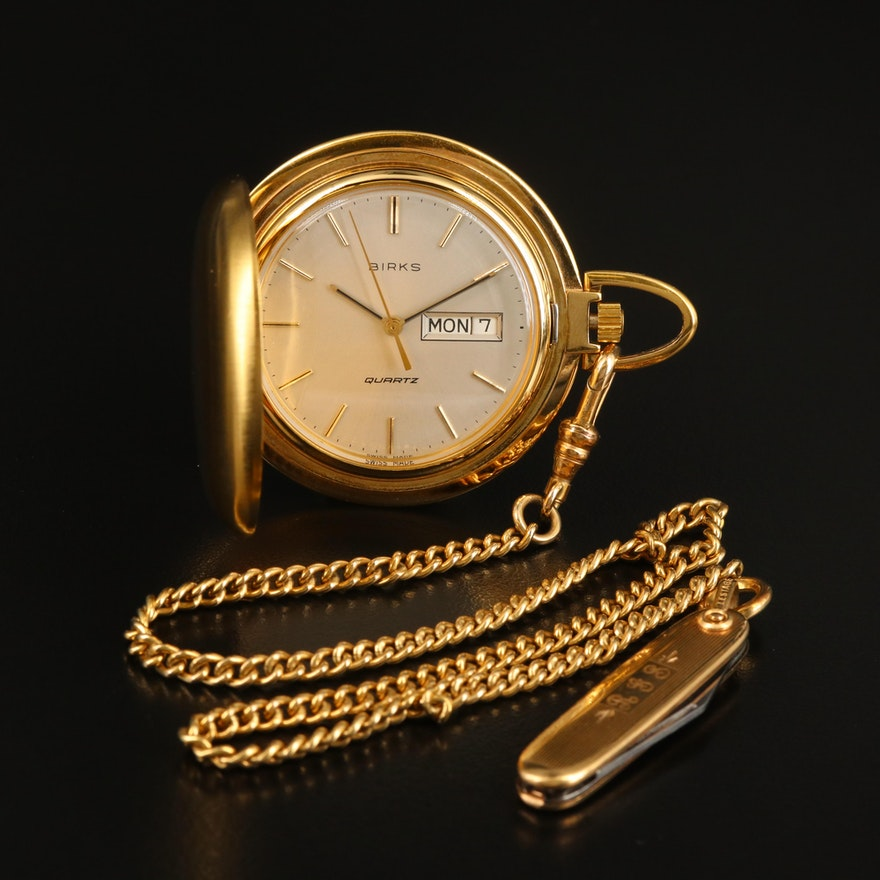 Vintage Birks Quartz Pocket Watch with Chain Fob and Knife