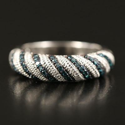 Sterling Diamond Twisted Multi-Row Ring
