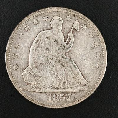 "1857 Seated Liberty ""No Motto"" Silver Half Dollar"