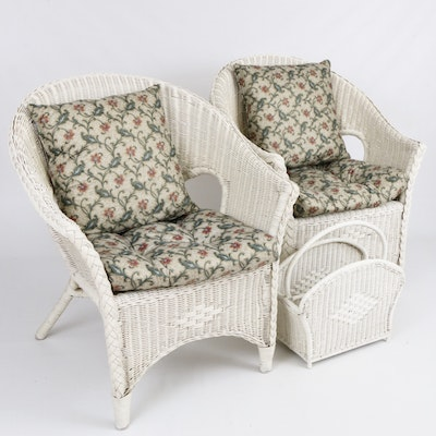 White Wicker Armchairs with Cushions and Magazine Holder