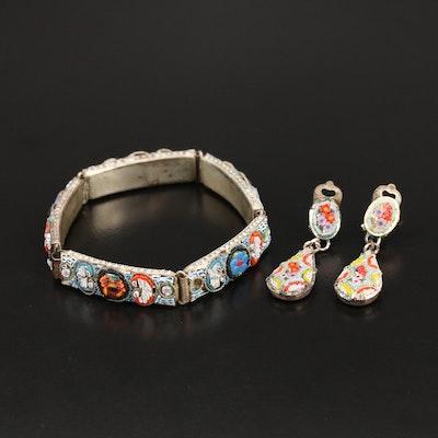 Italian Micromosaic Glass Bracelet and Earrings