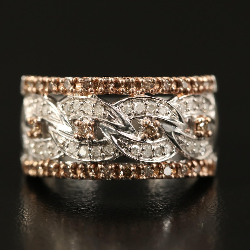 Sterling Diamond Ring with Curb Link Detail