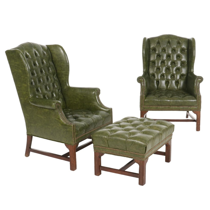 Pair of Green Button Tufted Wing Back Armchairs and Ottoman, Late 20th Century
