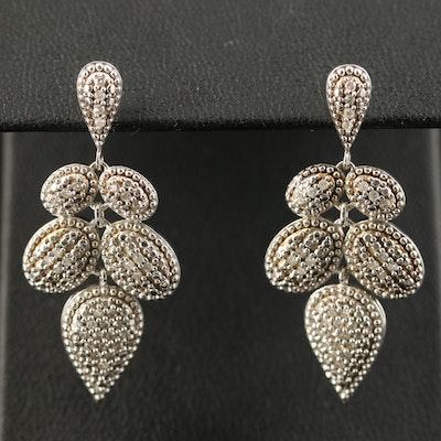 Sterling Diamond Drop Earrings