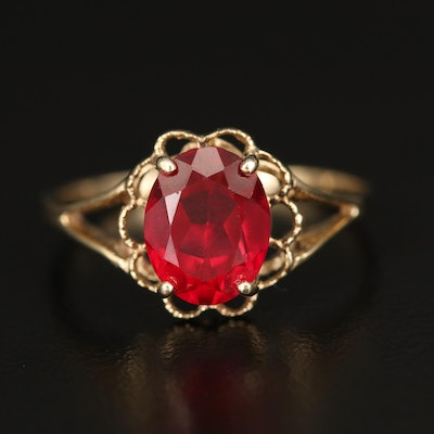 10K Ruby Ring with Openwork Scalloped Frame