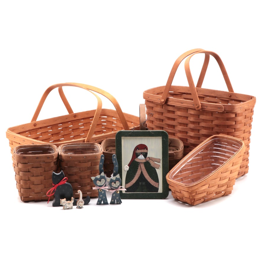 Longaberger Baskets with Wooden Cat Decorative Accessories, Late 20th Century