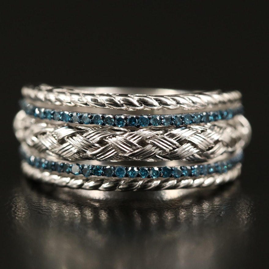 Sterling Diamond Ring with Braided Detail