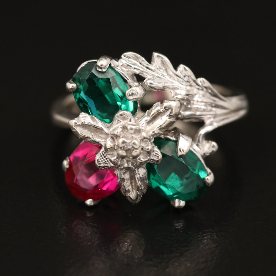 Vintage 10K Ruby, Spinel and Glass Foliate Ring
