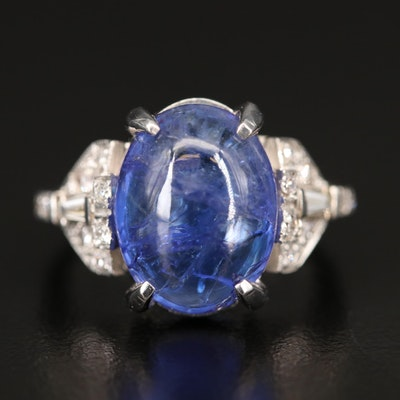 Art Deco Style 14K Tanzanite and Diamond Ring