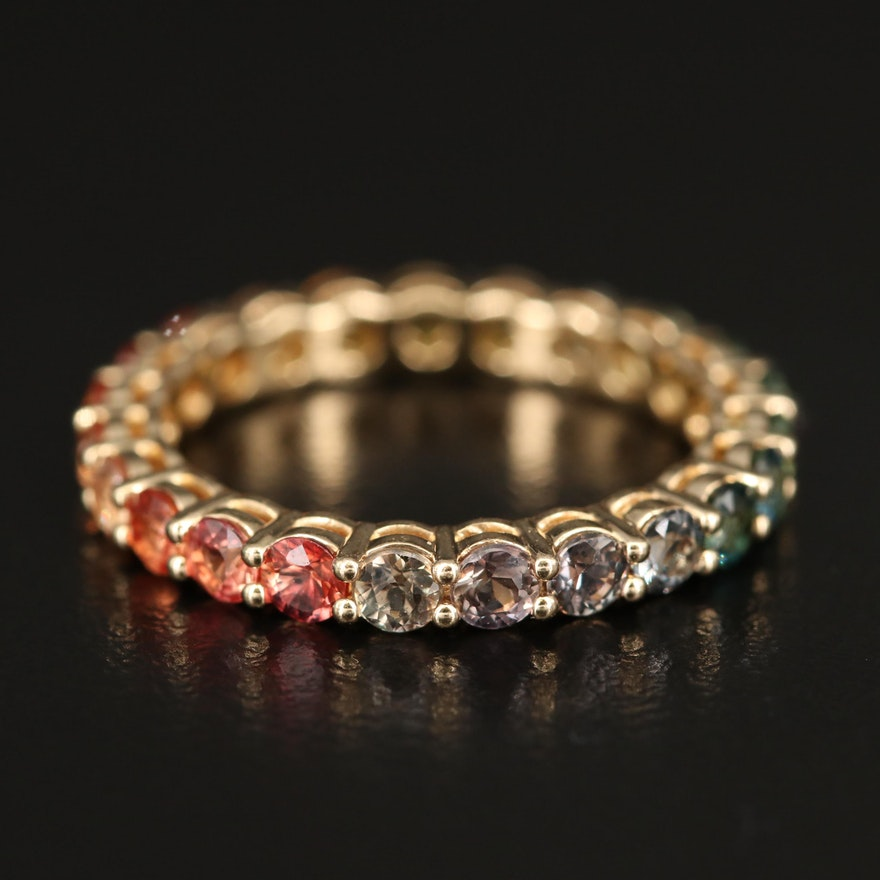 14K Multicolored Sapphire Eternity Band