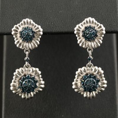 Sterling Diamond Flower Drop Earrings